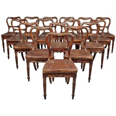 Set of 18 Red Walnut Dining Chairs Attributed to Gillows, circa 1830