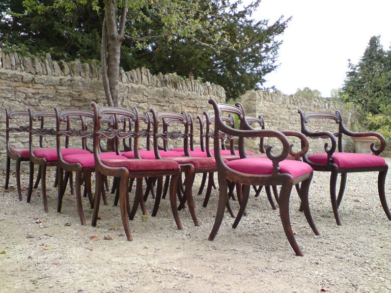 19th Century Set of 18 Regency Dining Chairs For Sale