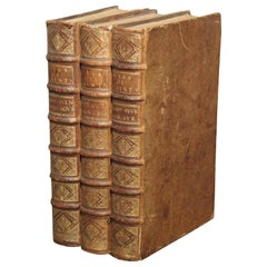 Set of 18th Century French Leather Bound Books, Les Vies Des Saints, 1715