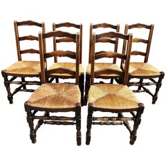 Set of 1920s French Elm Ladderback Rush Seat Dining Chairs