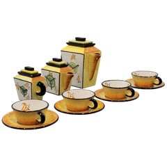 Set of 1930s Futurist Style Hand Painted Ceramic BMC Tea Service