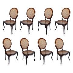 Set of 1940s Brazilian Jacaranda Medallion Cane Dining Chairs