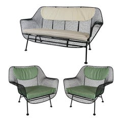 Set of 1950's Sculptura Lounge Chairs and Settee by Russell Woodard
