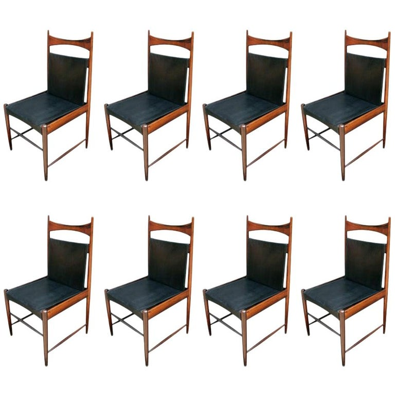 Set of 1960s Brazilian Jacaranda Wood Cantu Dining Chairs by Sergio Rodrigues For Sale