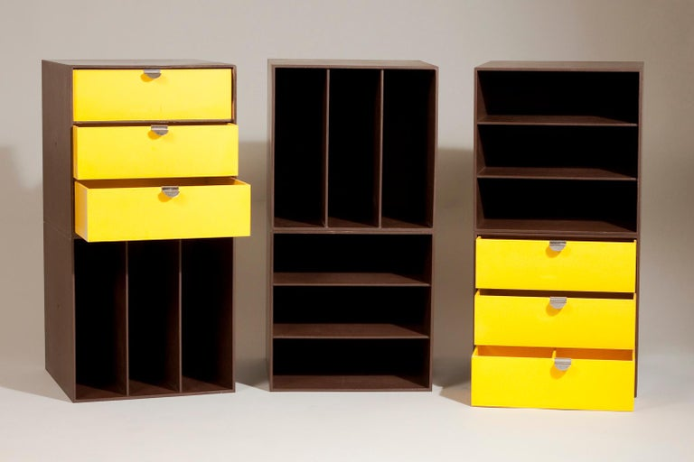 Set of six Finnish Mid-Century Modern brown and yellow 1960s storage box units designed by Ristomatti Ratia for Treston Oy. The storage boxes can be matched in different ways to create numerous combinations. The shelving system is perfectly suited