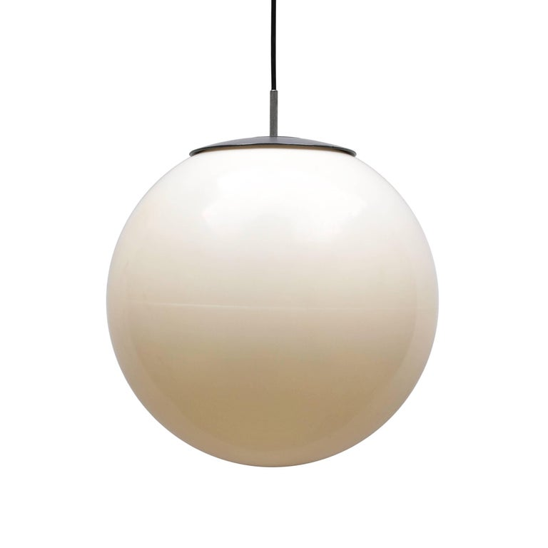 Mid-20th Century Set of 1960s Three Large Ball Hanging Lights in White Plastic For Sale