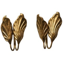 Set of 1970s Italian Brass Leaf Wall Sconces by Carlo Giorgi for Bottega Gadda