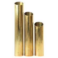 Set of 1970s Modern Brass Cylindrical Sculptures