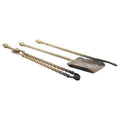 Set of 19th Century brass fire irons