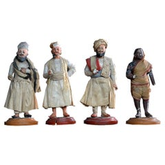 Set of 19th Century Clay Indian Figures