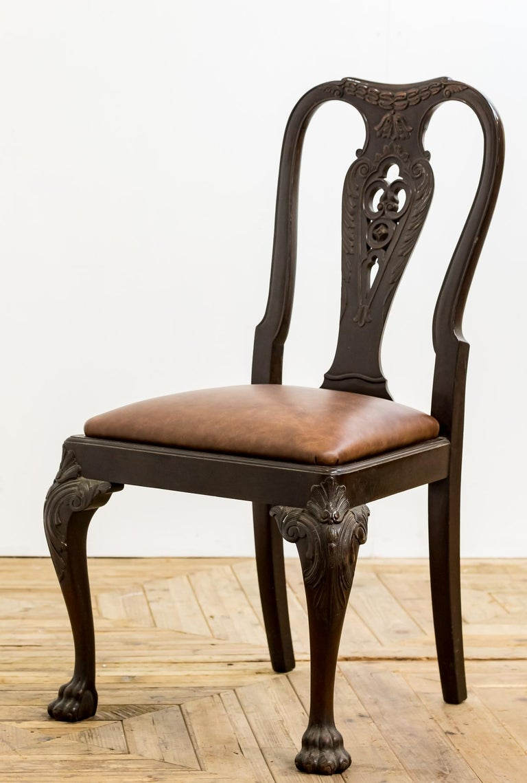 Set of 19th Century Country House Carved Mahogany and Leather Dining Chairs For Sale 5