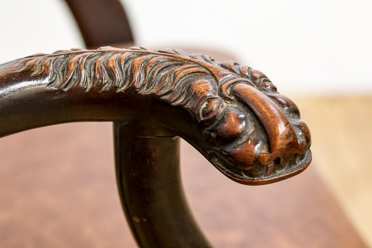Set of 19th Century Country House Carved Mahogany and Leather Dining Chairs For Sale 6