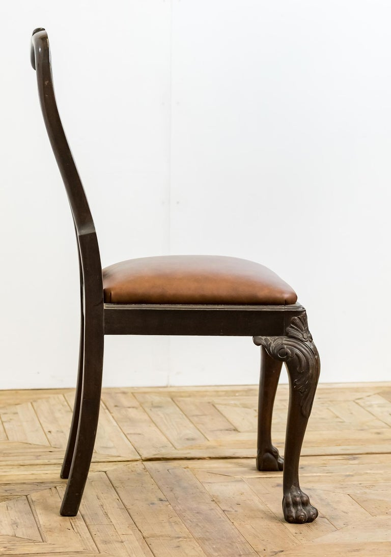 Set of 19th Century Country House Carved Mahogany and Leather Dining Chairs For Sale 7