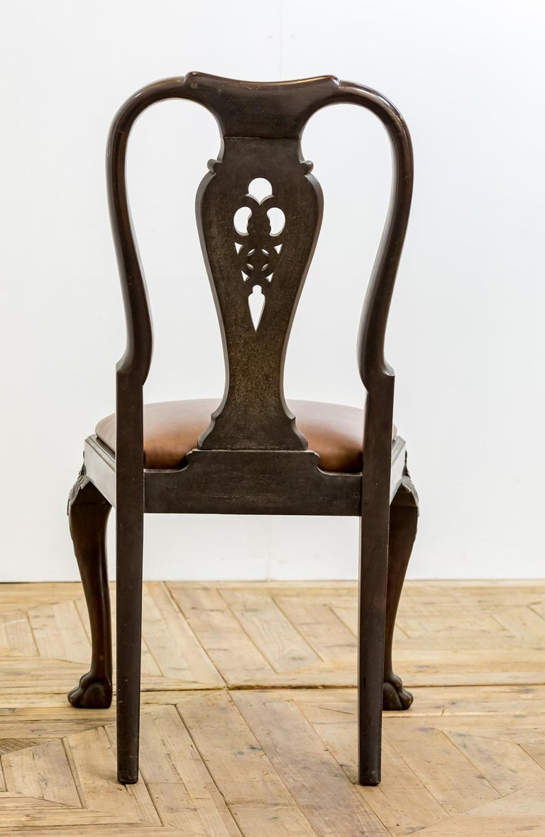 Set of 19th Century Country House Carved Mahogany and Leather Dining Chairs For Sale 8