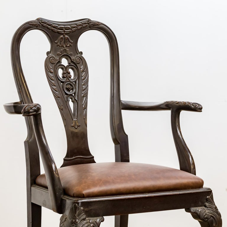 British Set of 19th Century Country House Carved Mahogany and Leather Dining Chairs For Sale