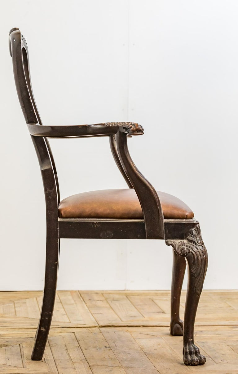 Hand-Carved Set of 19th Century Country House Carved Mahogany and Leather Dining Chairs For Sale