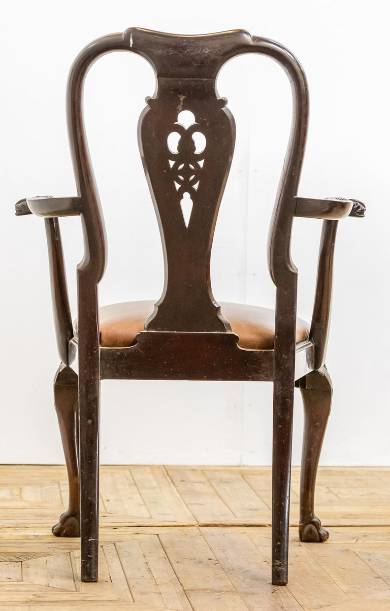 Set of 19th Century Country House Carved Mahogany and Leather Dining Chairs In Good Condition For Sale In Pickering, North Yorkshire