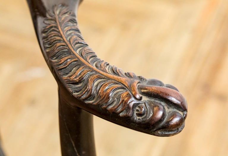 Set of 19th Century Country House Carved Mahogany and Leather Dining Chairs For Sale 1