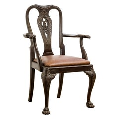 Set of 19th Century Country House Carved Mahogany and Leather Dining Chairs