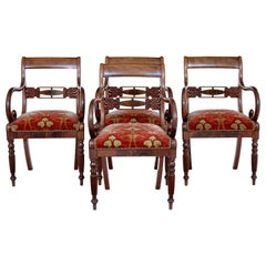 Set of 19th Century Danish Flame Mahogany Armchairs