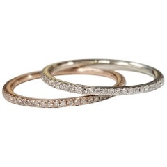 Set of 2 14k White and Rose Gold Diamond Eternity Ring with Micro Pavé Setting