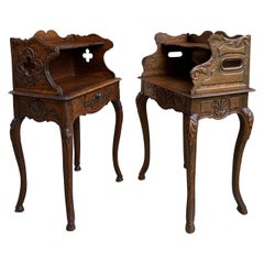 Set of 2 19th Century French Carved Oak Nightstand End Table Louis XV Style Pair
