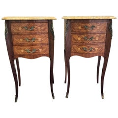 Set of 2, 20th Century French Marble and Wood Side Tables