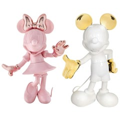 Set of 2 Life-Size, 4.6 Feet Tall Pink Minnie & Glossy White Mickey Sculptures