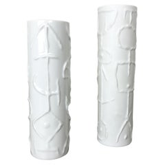 Set of 2 Abstract porcelain Vases by Cuno Fischer for Rosenthal, Germany, 1980s