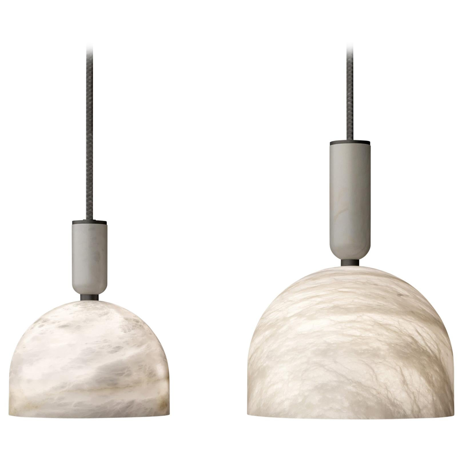 Set of 2 Alabaster Oki Pendant Light by Atelier Alain Ellouz