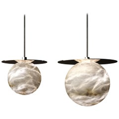 Set of 2 Alabaster Yak Pendant Light by Atelier Alain Ellouz