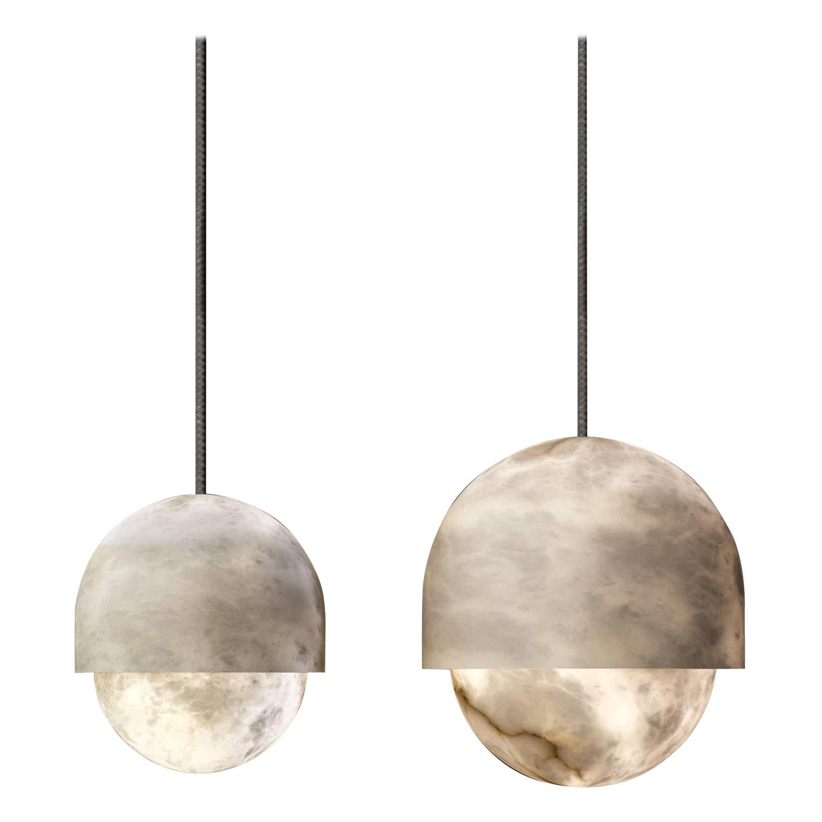 Set of 2 Alabaster Yoko Pendant Light by Atelier Alain Ellouz