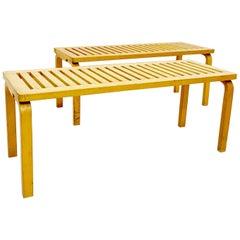 """Set of 2 Alvar Aalto Benches """"153"""" for Artek in Birch, 1940s"""