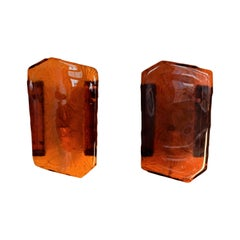 Set of 2 Amber Colored Pressed Glass Wall Sconces by Vitrika, Denmark, 1960s
