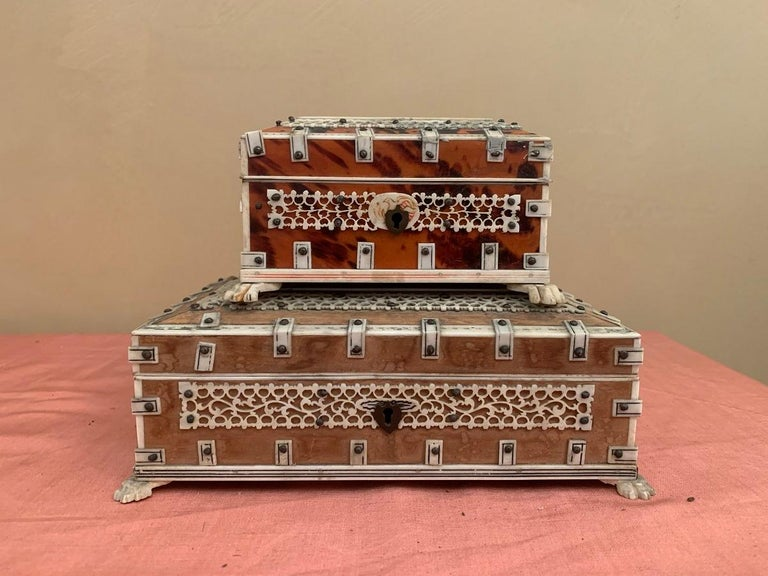 Hand-Crafted Set of 2 Anglo Indian Boxes For Sale