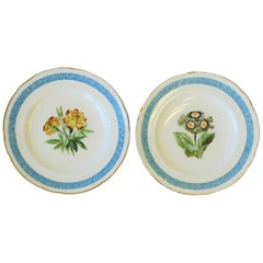 Set of 2 Anitque English Minton Plates with Greek Key Design