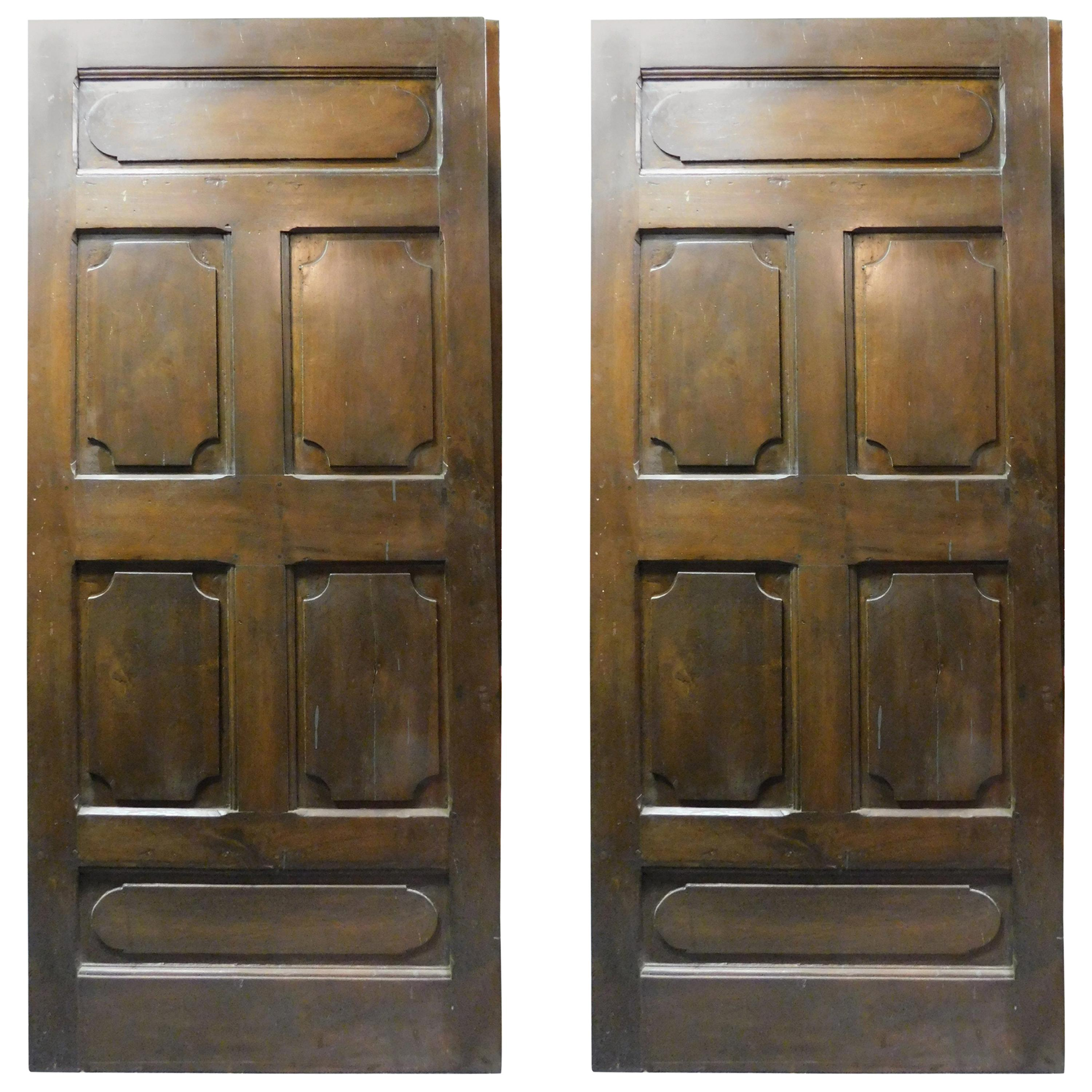 Set of 2 Antique Brown Walnut Doors, Carved Panels, 18th Century, Italy