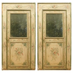 Set of 2 Antique Doors Richly Painted Colorful Flowers and Mirror, 1700, Italy