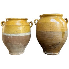Set of 2 Antique French Confit Pot Yellow Glazed Pottery Provence, 19th Century