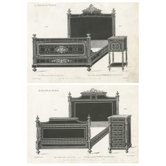 Set of 2 Antique Furniture Prints of a Bed and Nightstand by Quetin, circa 1860