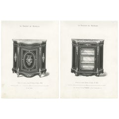 Set of 2 Antique Furniture Prints of a Vitrine and Bahut by Quetin, 'circa 1860'