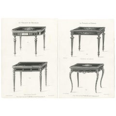 Set of 2 Antique Furniture Prints of Game Tables by Quetin, 'circa 1860'