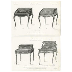 Set of 2 Antique Furniture Prints of Ladies Desks by Quetin, circa 1860