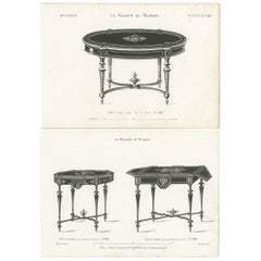 Set of 2 Antique Furniture Prints of Various Tables by Quetin, circa 1860