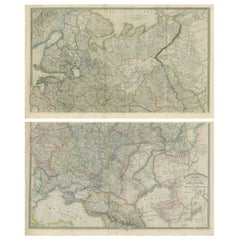Set of 2 Antique Maps of Russia by Wyld, 1883