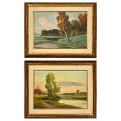 Set of 2 Antique Original Oil Landscape Paintings