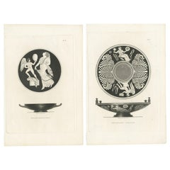 Set of 2 Antique Prints Depicting the Design of Vases/Plates by Moses, 1820