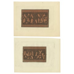 Set of 2 Antique Prints Depicting Various Figures and Scenes, circa 1840