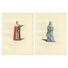 Set of 2 Antique Prints of a Nobleman and Noblewoman from Milan, 'circa 1860'