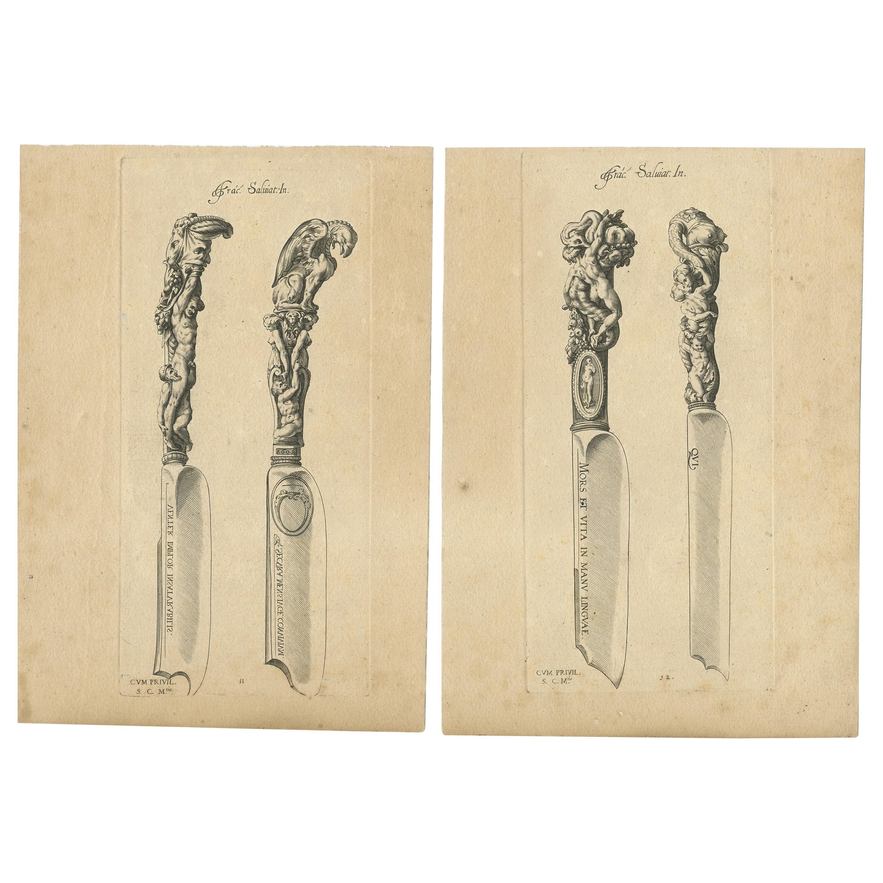 Set of 2 Antique Prints of Decorated Knives, circa 1840